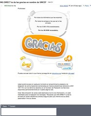 ING Direct Espana UNICEF Autobus Viral Email ING follow up 16-01-09