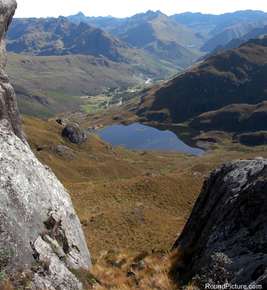 Ecuador - Parque Nacional Cajas - Laguna Cucheros from the Hilltop