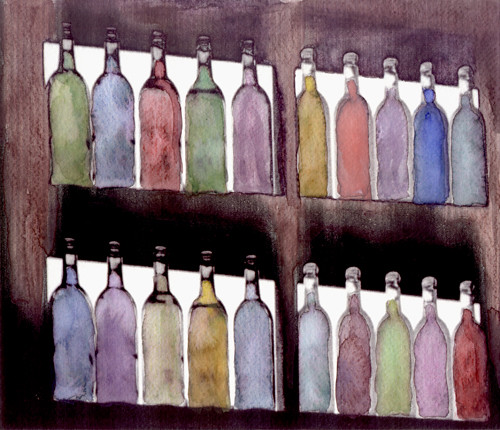 Bottles watercolored photo     (c) Lynne Medsker