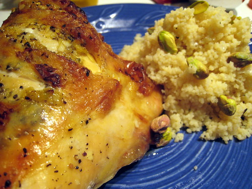 Broiled Chicken and Lemon Couscous (with pistachios)