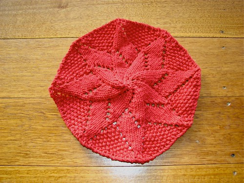 Red double flower washcloth