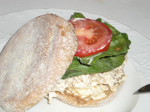 Lemon & Celery Seed Chicken Salad on an English Muffin