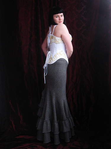 button corset and fishtail skirt - back