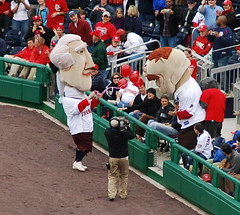 Opening day presidents race - Teddy waits in the stands for Thomas Jefferson