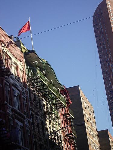 Bandera china ondeando