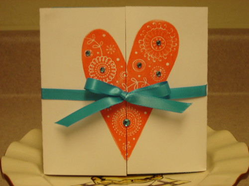 Heres my red and aqua shower invitation which just happens to be the brides wedding colors.