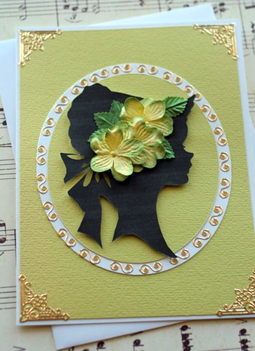 Woman's Silhouette Greeting Card- Green