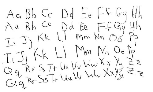 two alphabets written out (one by each hand)