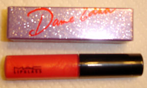 MAC Lipglass in Red Devil, Dame Edna lipstick in Coral Polyps