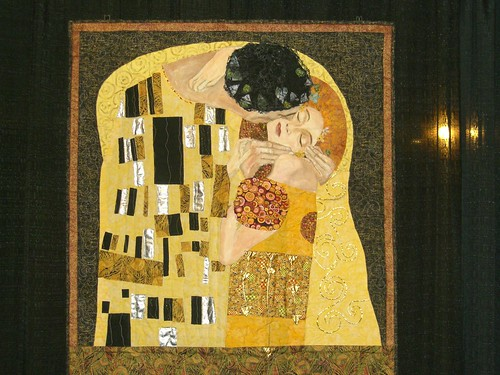 based on Klimts The Kiss.  They used a lot of shiny fabrics.