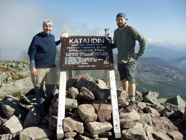 The Baxter Peak Sign on the summit of Katahdin, the northern terminus of the Appalachian Trail