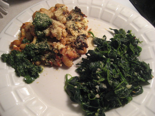 Chipotle White Bean Casserole with Cilantro Pesto and Garlic Spinachy