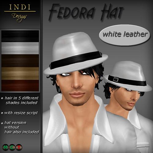 Fedora Hat white leather