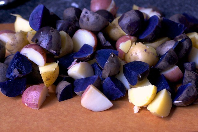 rainbow potatoes, cooked