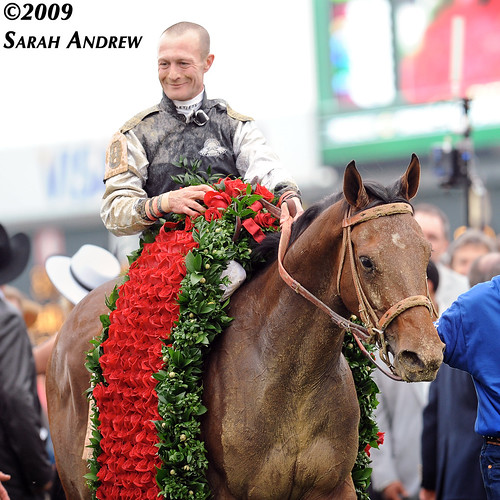 Mine That Bird and Calvin Borel after winning the 135th Kentucky Derby