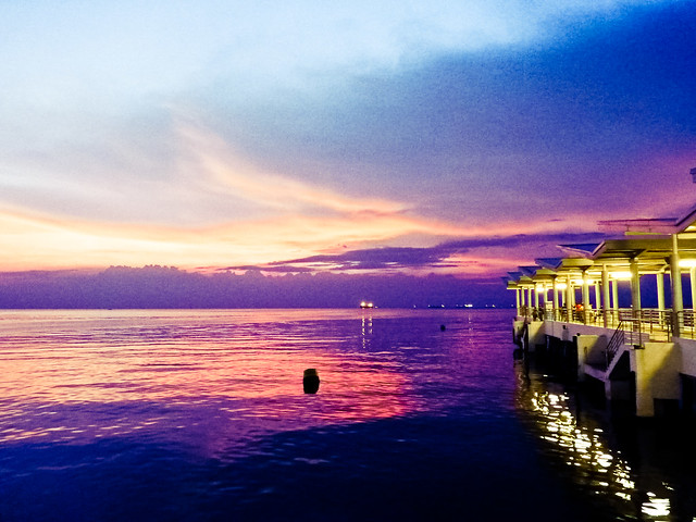 Purple bluish skies at the Jetty Terminal
