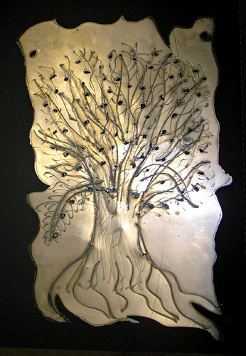tree (on metal) work in progress (c) 2009, Lynne Medsker