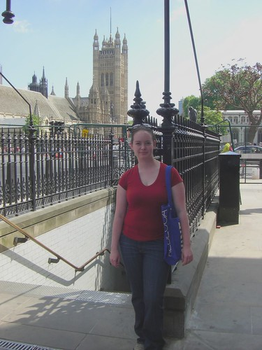 Poopy picture of me near Westminster Abbey and Big Ben.