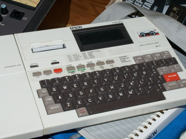 "The Epson HX-20. A classic example of early notebooks...the ""stick a full-sized keyboard on a chunky tablet and then wangle some sort of an LCD on there in whatever space is left over"" style of mobile computing."
