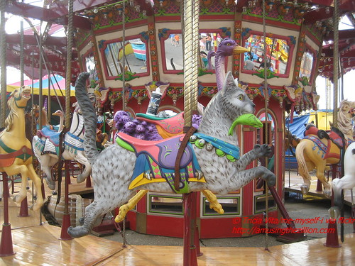 Cat figure on Butler Amusements Carousel. Photo © Tricia Vita/me-myself-i via flickr
