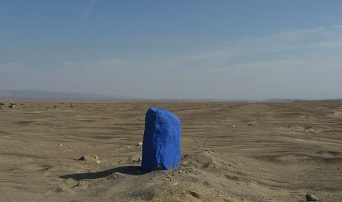 Blue Rock in the middle of the desert