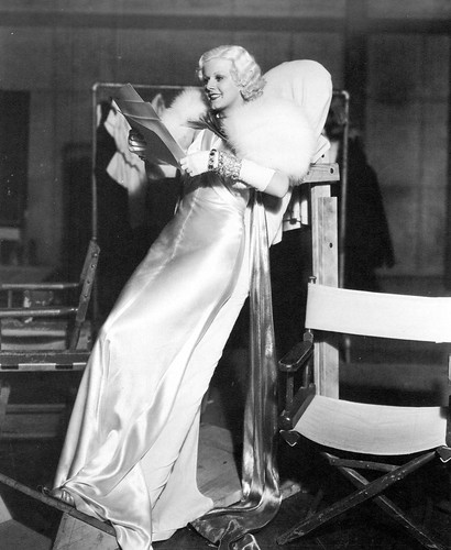 "Jean Harlow resting on the leaning board between takes of ""Dinner at Eight"", 1933"