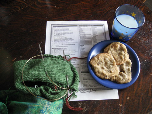 Cookies, milk, and knitting. Om nom nom nom