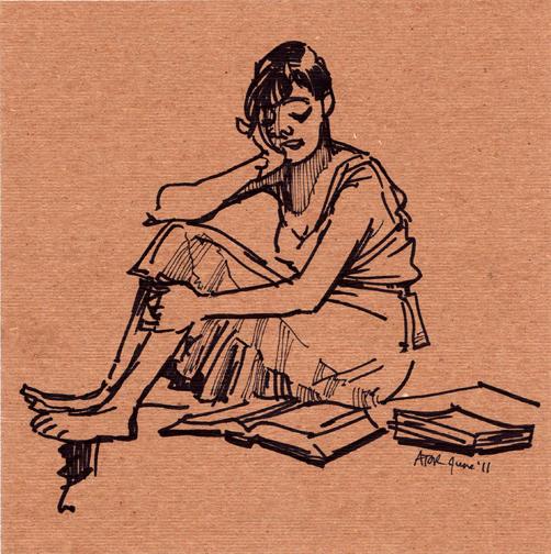 r8r, Figure 1048. Life drawing on found cardboard. Model Reading Bible, 3 of 4, 11. Juni 2011