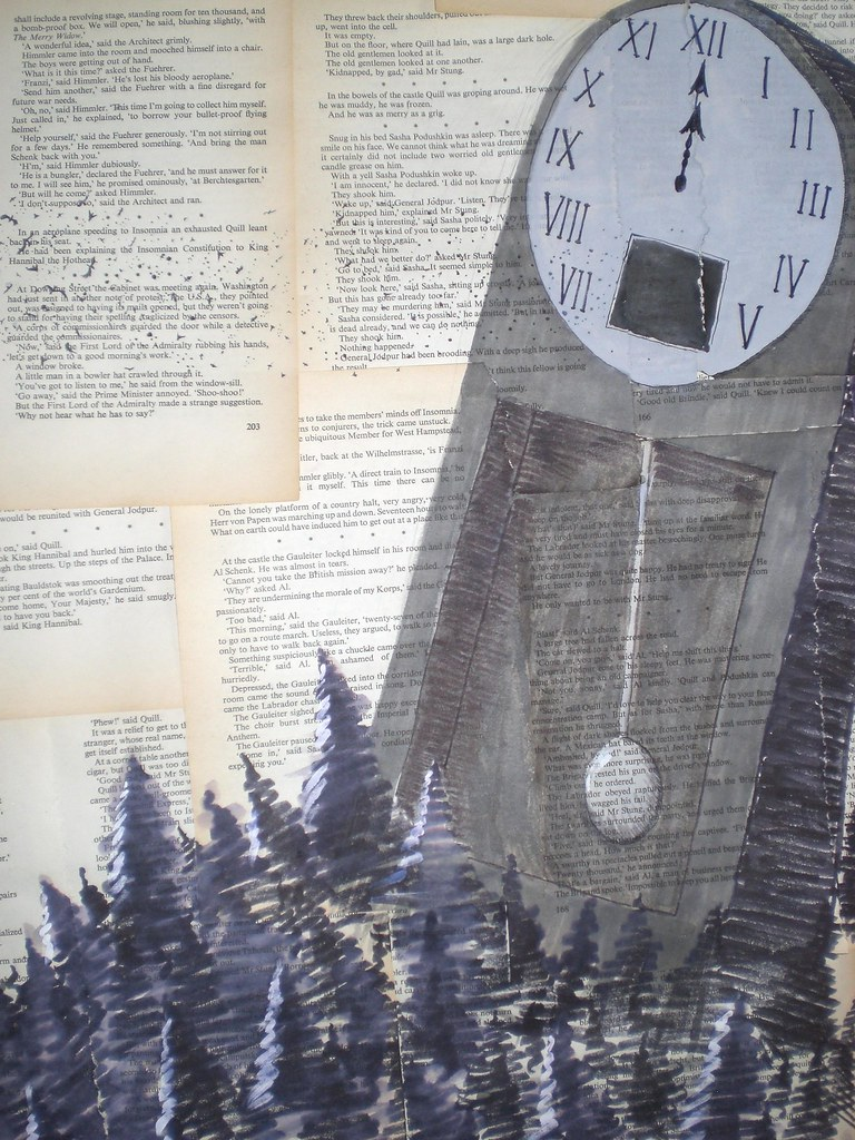 The clock portion.  This is actually the only part of the image that Im dissatisfied with; I wish Id used grey pens for the clock face as I did with the pendulum rather than (opaque) grey paint.