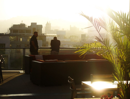 Sunset view from the 1600 Vine Apartments outdoor terrace.