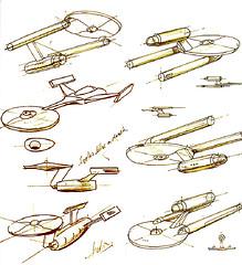 Estudo para definir o formato da nave criada por Matt Jefferies - CLIQUE AQUI PARA AMPLIAR ESTA IMAGEM