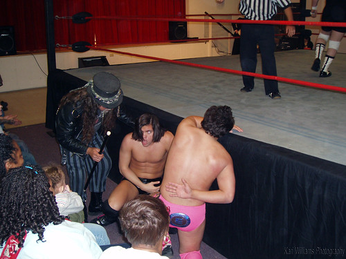 Irresistably Flawless Brandon Aarons and Thee Brandon Espinosa look to Magic Man for guidance after taking a beating from The Hybrids.