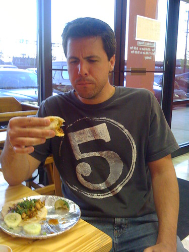 While visibly displaying his own internal critical analysis, taco enthousiast Dave decides that the tacos exceed his expectations.