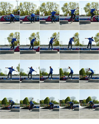 Nice b/s nollie180, sw manny, sw f/s 180 out on one of the perfect blocks at the new Glastonbury skatepark