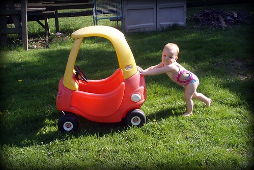 Pushing Her Car - Must be out of gas! by you.