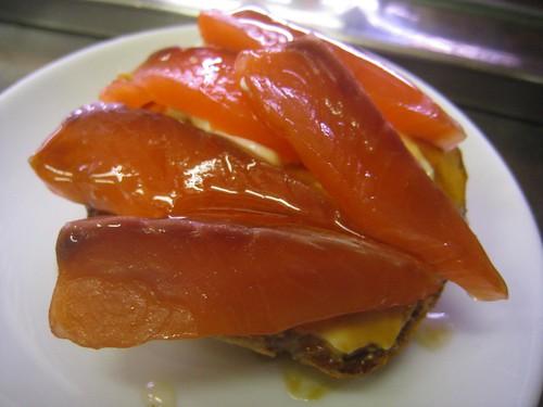 A delicious salmon tapas at Quimet and Quimet