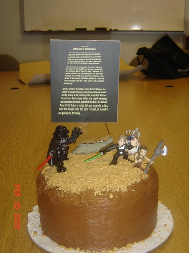 And heres a close up of the cake. Matt, I mean, Han Solo Anderson now has more figurines to add to his collection.