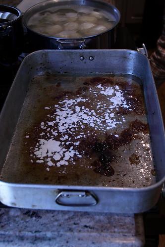 Add flour, brown and stir