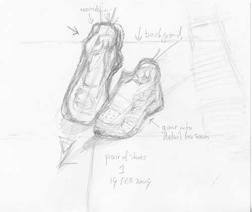 Sketch of running shoes