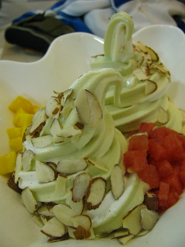 Combination of Plain Yogurt and Green Tea Yogurt at Red Mango
