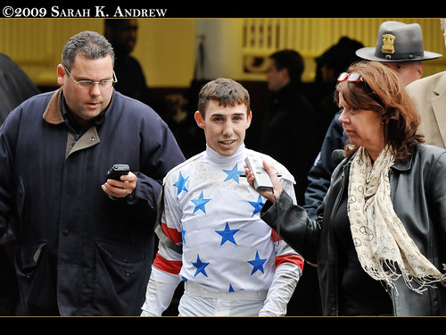 Jockey Joe Talamo is interviewed after winning the Wood Memorial with I Want Revenge