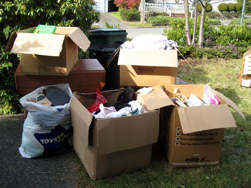 Boxed yard sale crap