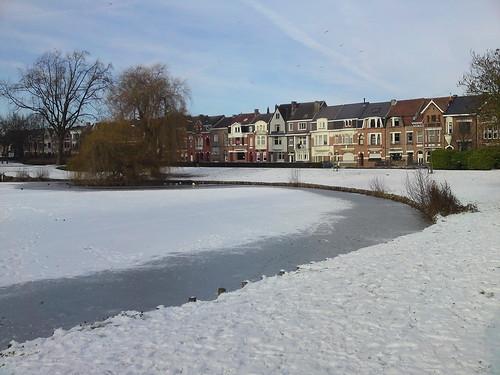 bevroren parkvijver in Aalst