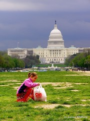 Litter Picking for Earth Day on the Washington Mall in front of the National Capitol Building.