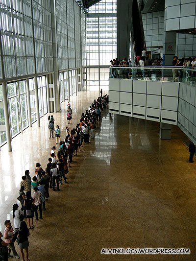 Full view of the queue from the third to fourth floor