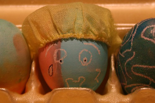 "Close up on the ""cwacked"" egg by you."