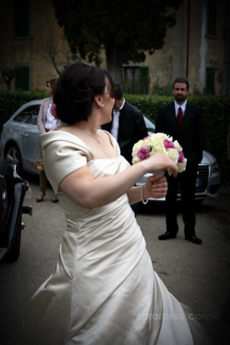 The bride's dress in a wedding in Tuscany