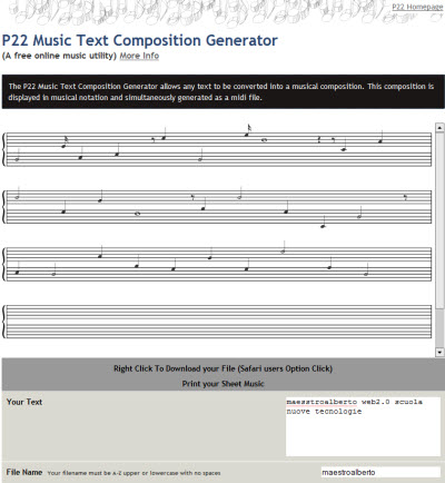 P22 Music Text Composition Generator