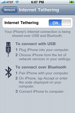 iPhone tethering