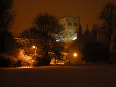 St Albans cathedral under snow